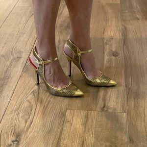 Charles Jourdan Paris Gold caged Heels